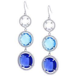Beach Chic Blue Stone Triple Round Drop Earrings