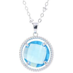 Beach Chic Indicolite Blue Round Glass Pendant Necklace