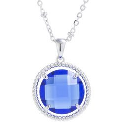 Beach Chic Blue Round Stone Pendant Necklace