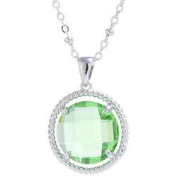 Beach Chic Green Round Stone Pendant Necklace