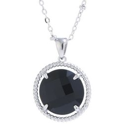 Beach Chic Black Round Stone Pendant Necklace