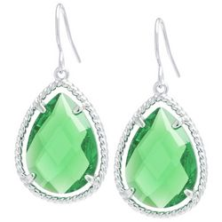Beach Chic Green Stone Teardrop Earrings