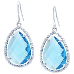 Beach Chic Aqua Blue Stone Teardrop Earrings