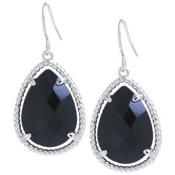 Beach Chic Black Stone Teardrop Earrings