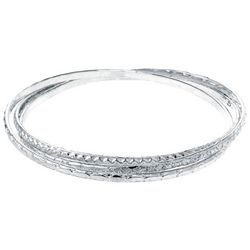 Beach Chic Silver Tone Interlock Bangle Bracelets