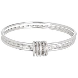 Beach Chic Silver Tone Triple Bangle Bracelet Set