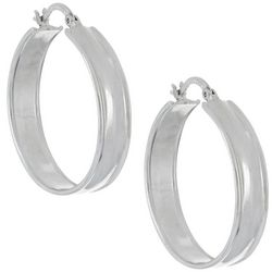 Beach Chic 33mm Silver Tone Wide Hoop Earrings