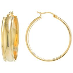 Beach Chic 33mm Gold Tone Wide Hoop Earrings