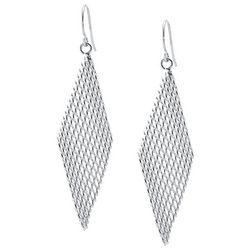 Beach Chic Silver Tone Mesh Chain Kite Earrings