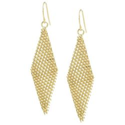 Beach Chic Gold Tone Kite Shaped Drop Earrings