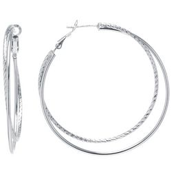 Beach Chic Silver Tone Double Hoop Earrings