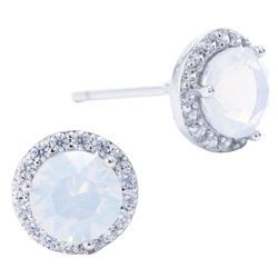 Beach Chic Silver Tone Simulated Opal Halo Stud Earrings