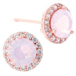 Beach Chic Rose Gold Tone Halo Stud Earrings