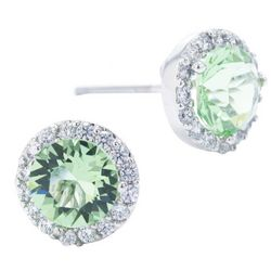 Beach Chic Silver Tone Green Halo Stud Earrings