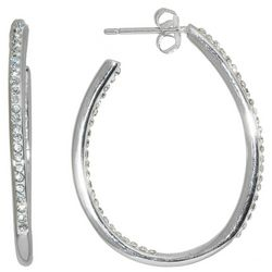 Beach Chic Silver Tone Rhinestone Inside Out J Hoop Earrings