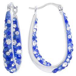 Beach Chic Blue Rhinestone Inside Out Hoop Earrings