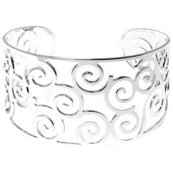 Beach Chic Silver Tone Cutout Swirls Cuff Bracelet