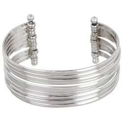 Beach Chic Silver Tone Movable Cuff Bracelet