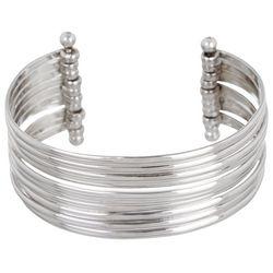Beach Chic Silver Tone Movable Cuff Bracelet