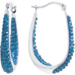 Beach Chic Blue Zircon Crystal Hoop Earrings