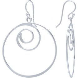 Beach Chic Silver Plated Swirl Hoop Drop Earrings