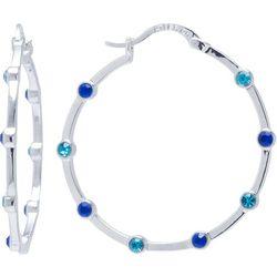 Beach Chic Aqua & Blue Crystal Hoop Earrings