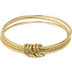 Beach Chic Gold Tone Triple Bangle Bracelet Set