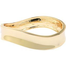Beach Chic Gold Plated Wave Hinge Bangle