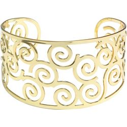 Beach Chic Gold Plated Swirl Cutout Cuff Bracelet