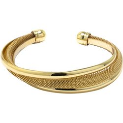 Beach Chic Gold Tone Twisted Cuff Bracelet