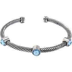 Beach Chic Aqua Silver Plated Rope Cuff Bangles