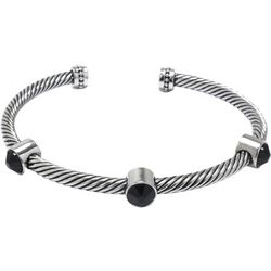 Beach Chic Jet Crystal & Silver Rope Cuff Bangle