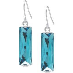 Aqua Blue Vertical Rectangle Dangle Earrings