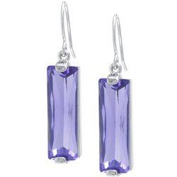 Lily Maris Purple Vertical Rectangle Drop Earrings