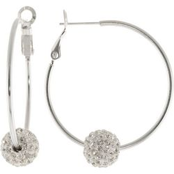 Lily Maris Silver Tone Pave Rhinestone Hoop Earrings