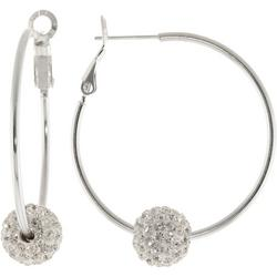 Silver Tone Pave Rhinestone Hoop Earrings