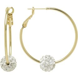 Lily Maris Two Tone Pave Rhinestone Ball Hoop Earrings