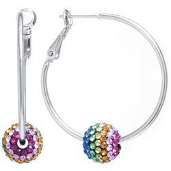 Rainbow Pave Rhinestone Ball Hoop Earrings