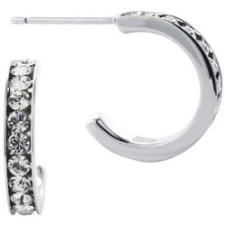 Lily Maris Silver Tone Post Top Half Hoop Earrings