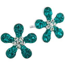 Lily Maris Aqua Blue Flower Stud Earrings