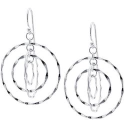 Lily Maris Silver Tone Twisting Hoop Fishhook Earrings