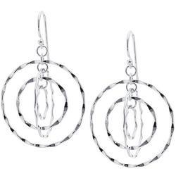 Silver Tone Twisting Hoop Fishhook Earrings