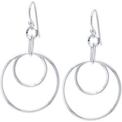 Lily Maris Silver Tone Double Hoop Fishhook Earrings
