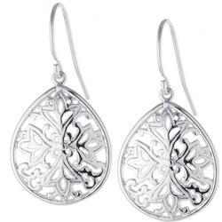 Silver Tone Filigree Teardrop Earrings