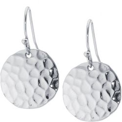 Lily Maris Silver Tone Hammered Disc Drop Earrings