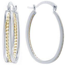 Sea Life Box 33mm Two Tone Oval Hoop Earrings