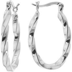 Sea Life Box 25mm Silver Tone Twist Hoop Earrings