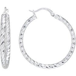 Starfish Box 40mm Diamond Cut Silver Tone Hoop Earrings