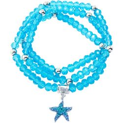 Florida Friends Aqua Blue Bead & Starfish Bracelet Set