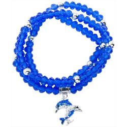 Florida Friends Blue Bead & Dolphin Charm Bracelet